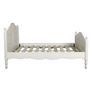 Lit 160x200 en bois blanc vieilli - Romance