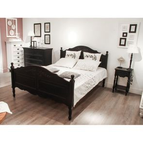 Lit 160x200 cm en bois noir - Romance - Visuel n°2