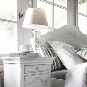 Lit pour literie 180x200 cm en pin blanc vieilli - Romance