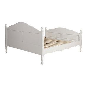 Lit pour literie 180x200 cm en bois blanc vieilli - Romance - Visuel n°5