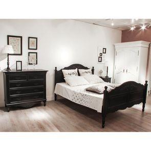 Lit 180x200 cm en bois noir - Romance