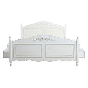 Lit 180x200 avec tiroirs en bois blanc - Romance - Visuel n°7