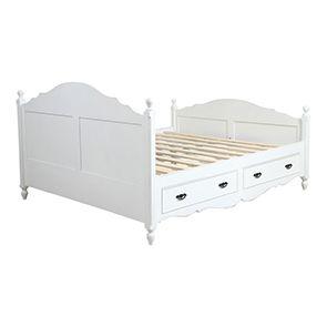Lit 180x200 avec tiroirs en bois blanc - Romance - Visuel n°10