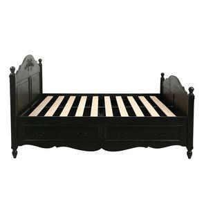 Lit à tiroirs 180x200 cm en bois noir - Romance
