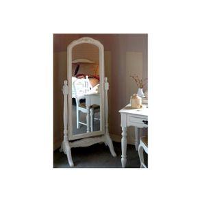 Miroir psyché blanc vieilli en bois - Romance
