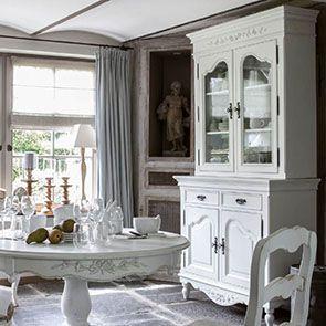 Buffet vaisselier blanc 2 portes en bois - Romance