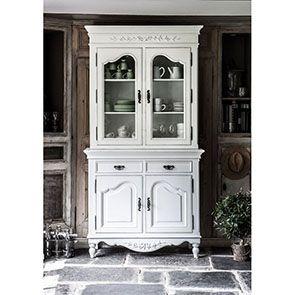 Buffet vaisselier blanc 2 portes en bois - Romance - Visuel n°3