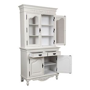 Buffet vaisselier blanc 2 portes en bois - Romance - Visuel n°4