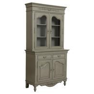 Buffet vaisselier gris 2 portes en bois - Romance