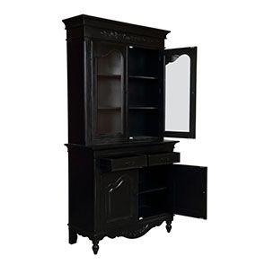 Buffet vaisselier noir 2 portes en bois - Romance - Visuel n°2