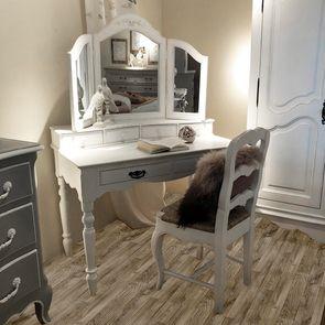 Miroir coiffeuse en bois blanc - Romance - Visuel n°2