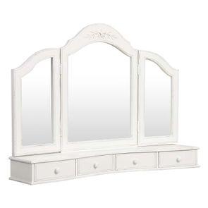 Miroir coiffeuse en bois blanc - Romance - Visuel n°3
