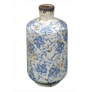 Soliflore céramique arabesques bleu