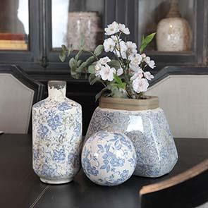 Boules en céramique motif floral (lot de 2) - Visuel n°2
