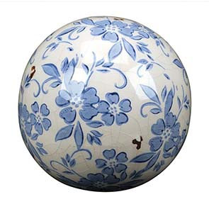 Boules en céramique motif floral (lot de 2) - Visuel n°1