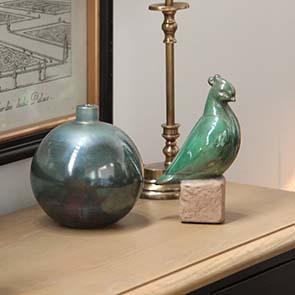 Statuettes oiseaux en céramique sur socle (lot de 2)