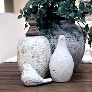 Statuette poule d'eau en céramique