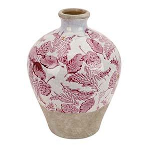 Vase en terre cuite motifs floraux