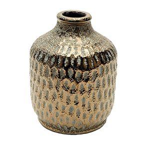 Vase décoratif en terre cuite laitonnée