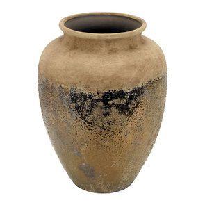 Vase en terre cuite laitonnée