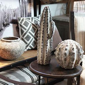 Statuette cactus boule effet ciment