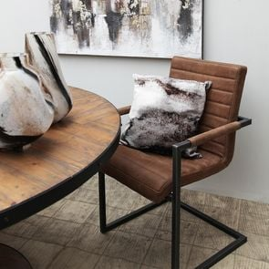 Fauteuil en métal et cuir marron - Matteo