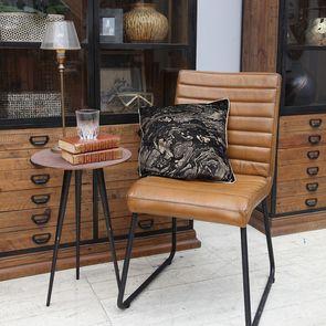 Chaise en métal et cuir camel - Marcella