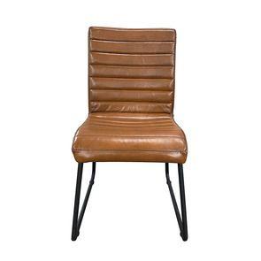 Chaise en acier et cuir camel - Marcella