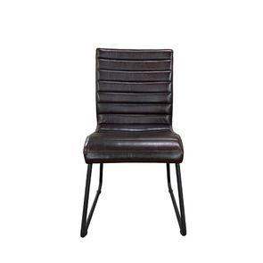 Chaise en acier et cuir brun - Marcella
