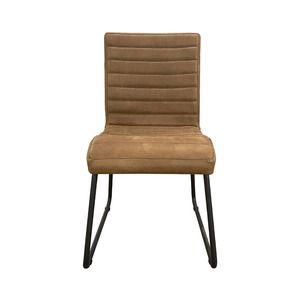 Chaise en acier et cuir marron - Marcella