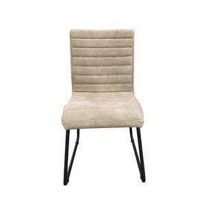 Chaise en acier et cuir clair - Marcella