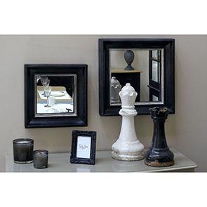 Miroir carré en bois noir et argent - Visuel n°2