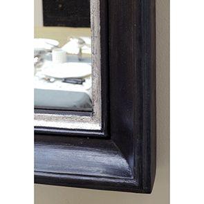 Miroir carré en bois noir et argent - Visuel n°4