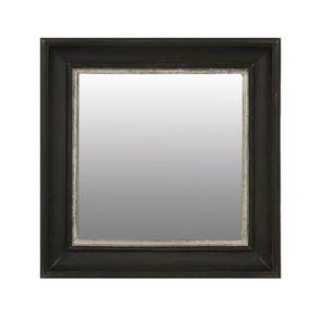 Miroir carré en bois noir et argent - Visuel n°1