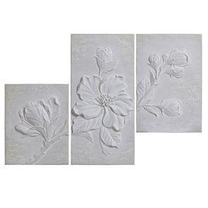 Triptyque floral en relief en béton 62x90