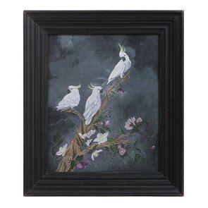 Tableau en bois peinture oiseaux