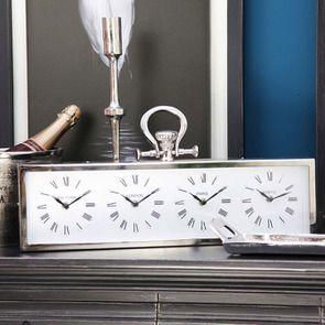 Horloge 4 cadrants en métal chromé à poser - Visuel n°3