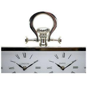 Horloge 4 cadrants en métal chromé à poser - Visuel n°8