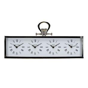 Horloge 4 cadrants en métal chromé à poser