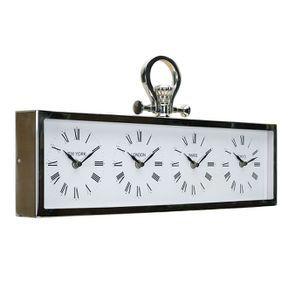 Horloge 4 cadrants en métal chromé à poser - Visuel n°5