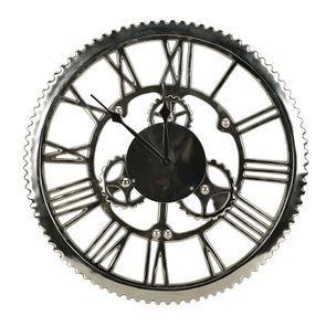Horloge rouages en métal chromé d48