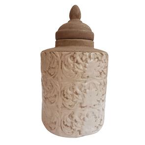 Pot d'officine en céramique avec motifs en relief - Visuel n°1