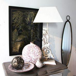 Vase rond décoratif floral en terre cuite