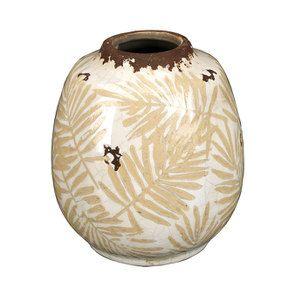 Vase en terre cuite feuillage jaune et blanc - Visuel n°1