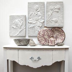 Plateau centre de table en terre cuite floral - Visuel n°3