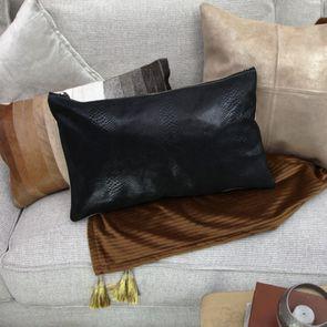 Housse de coussin en cuir noir 30x50