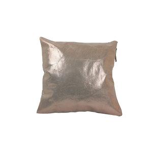 Housse de coussin en cuir métallisé doré 40x40