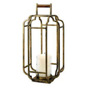 Lanterne en métal laitonné h49