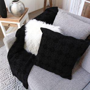 Housse de coussin coton chenille noir 40x40