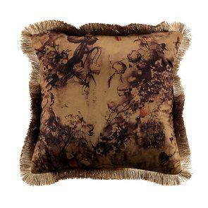 Housse de coussin motif floral à franges